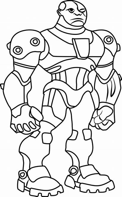 Cyborg Titans Coloring Teen Pages Dot Boy