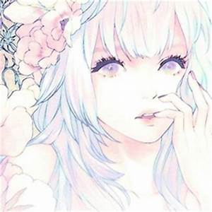 light blue hair purple eyes flowers anime girl