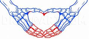 Skeleton Heart Hands Drawing Tutorial  Step By Step