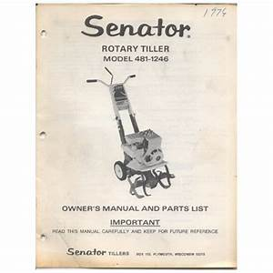Original 1975 Senator Rotary Tiller Owner U2019s Guide Model