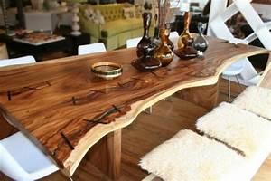 Baumstamm Als Tisch : 35 massivholzm bel ideen der esstisch aus baumstamm ~ Watch28wear.com Haus und Dekorationen
