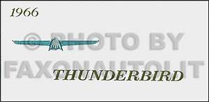 1966 Ford Thunderbird Wiring Diagram Manual Reprint
