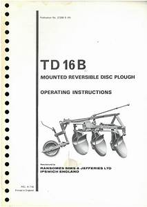 Ransomes Td16b Mounted Reversible Disc Plough Operators