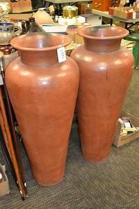 sold, price, , pair, of, large, decorative, brown, ceramic, jugs