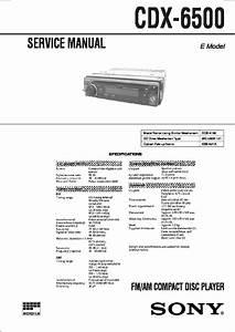 Sony Cdx-65  Cdx-65rf Service Manual