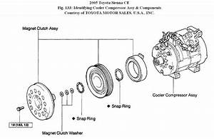 2005 Toyota Sienna Compressor Clutch Intermittent Engagement  The