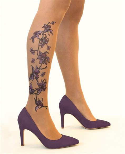 collant tatouage purple orchids de stop stare sur collantfr