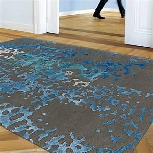 Tapis Bleu Et Gris : tapis de luxe gris souris et bleu en laine de nouvelle z lande et en viscose ~ Dode.kayakingforconservation.com Idées de Décoration