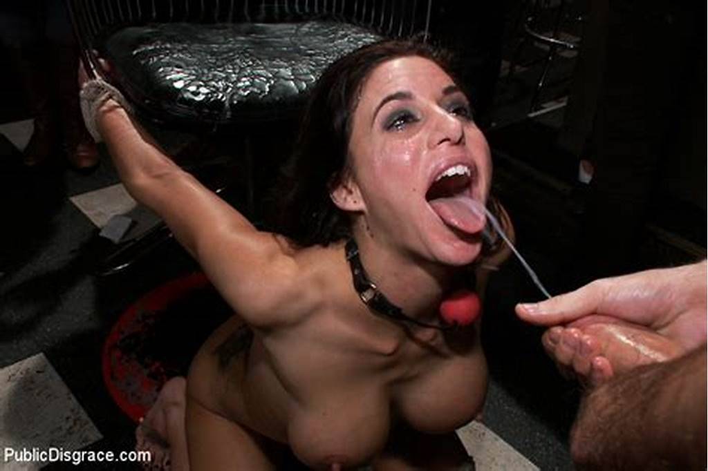 #Bound #Slave #With #Huge #Tits #Gets #Her #Mouth #F