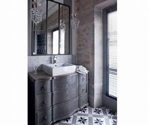 Carreaux De Ciment Salle De Bain : salle de bain avec carrelage sol en carreaux de ciment gris ~ Teatrodelosmanantiales.com Idées de Décoration