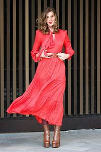 Trinny Woodall In A Red Dress Leaves Itv Studios In London