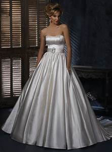 satin dipped neckline ball gown wedding dress with pockets With satin wedding dresses