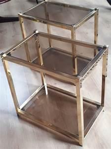 table verre fume et or bout canape 70s luckyfind With tapis ethnique avec bout de canapé verre et inox