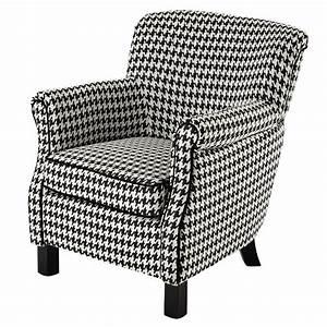 Petit Fauteuil Maison Du Monde : fauteuil en coton motif pied de poule noir blanc coco ~ Premium-room.com Idées de Décoration