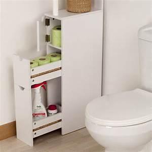 meuble de rangement toilettes ou salle de bains blanc With toilette dans la salle de bain