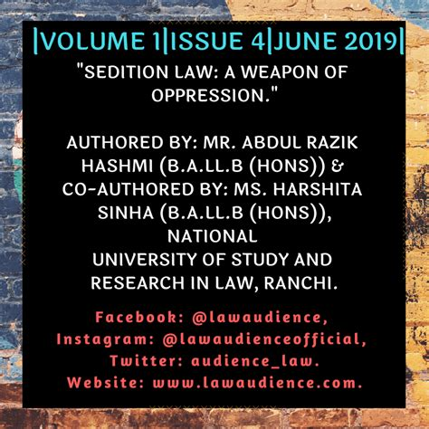 Volume 1 & Issue 4 SEDITION LAW: A WEAPON OF OPPRESSION