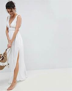 asos asos grecian plunge maxi woven beach dress With vêtements de plage femme