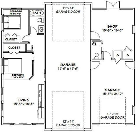 Barndominium floor plan with rv garage. 50x48 1 RV 1 Car Garage 2 Br 1.5 Ba PDF Floor Plan   Etsy ...