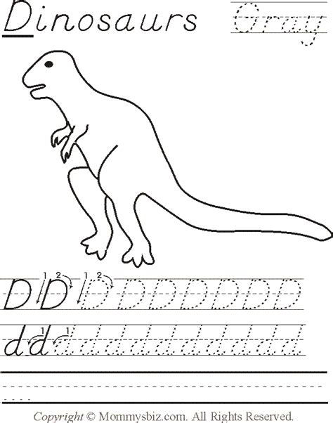 Search through 52281 colorings, dot to dots, tutorials and silhouettes. Mommysbiz | D-Dinosaurs-Gray Preschool Worksheet by ...