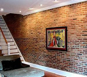 faux exposed brick wall design decoration With what kind of paint to use on kitchen cabinets for cigar bar canvas wall art