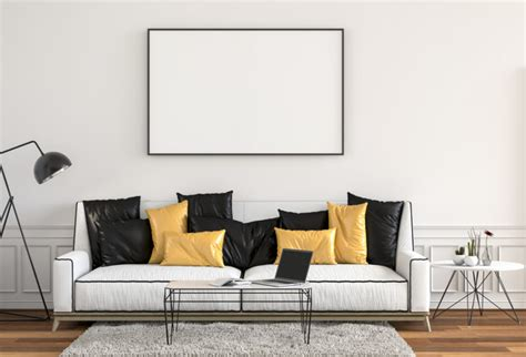 Mockup painting on a wall. Mock up poster frame in hipster interior modern living room background, 3D render Photo ...