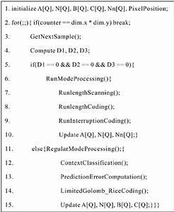 Pseudo Code Of Encoding Procedure Of Jpeg
