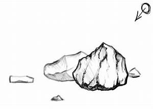 Rock clipart black and white - Pencil and in color rock ...