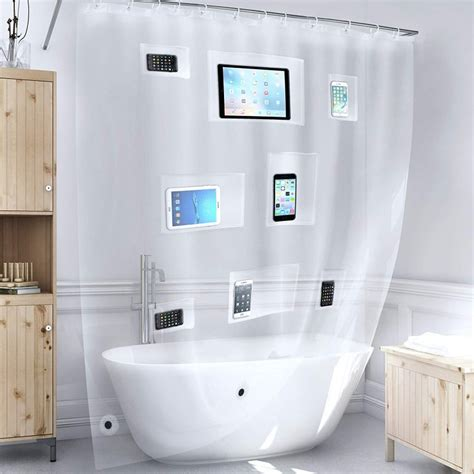 Tech Friendly Clear Shower Curtain Liner with Pockets