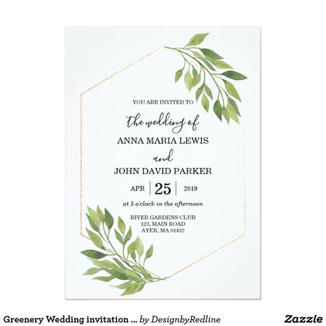 Greenery Wedding invitation card gold frame Zazzle com