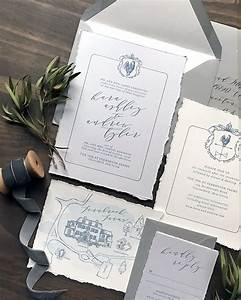 classic gray and french blue letterpress wedding invitations With traditional french wedding invitations