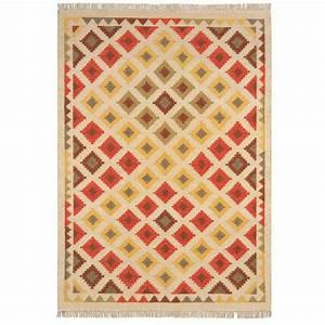 tapis kilim contemporain a motifs en laine et jute With tapis kilim avec canape 150