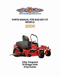 2009 Zt Parts Manual By Bad Boy Lawn Mower Parts