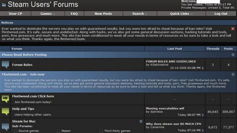 Steam Forums Apparently Hacked