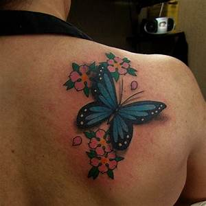 Right Back Shoulder Butterfly Tattoo With Pink Flowers ...
