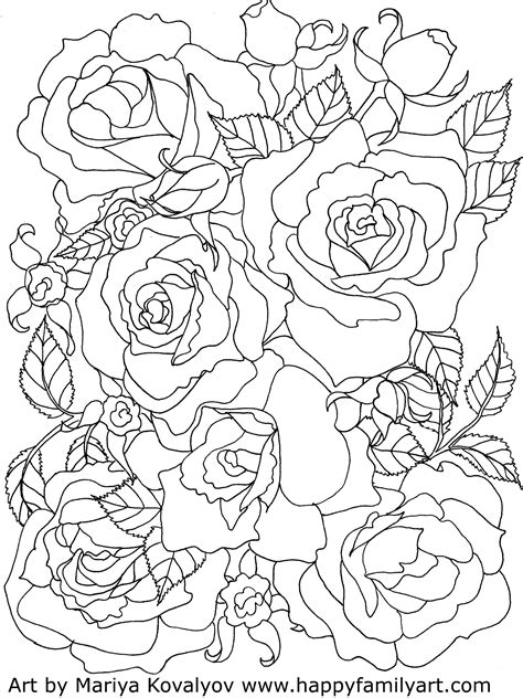 Free printable realistic rose coloring pages for adults and valentine's day. Roses - Happy Family Art