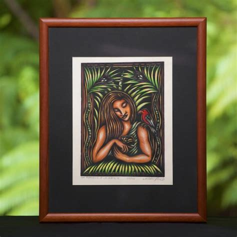 Lauka'ie'ie, Limited Edition Hand Colored Block Print by ...