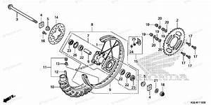 Honda Motorcycle 2007 Oem Parts Diagram For Rear Wheel