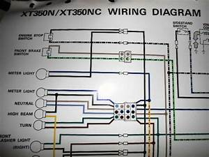Yamaha Oem Factory Color Wiring Diagram Schematic 1985 Xt350n Xt350nc