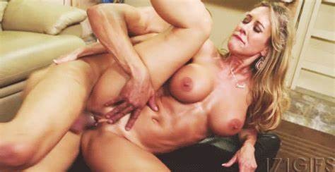 Spunky Mature Drilled Huge Dildo With Stepmother