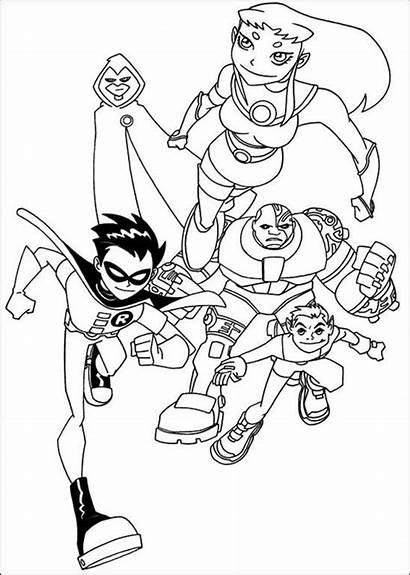 Coloring Teen Pages Titans Printable