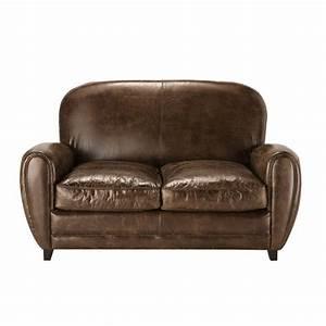 canape vintage 2 places en cuir marron oxford maisons du With canapé 2 places cuir vieilli