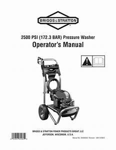 Operator U2019s Manual 2500 Psi  172 3 Bar  Pressure Washer