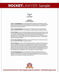 corporate bylaws template with sample With s corporation bylaws template