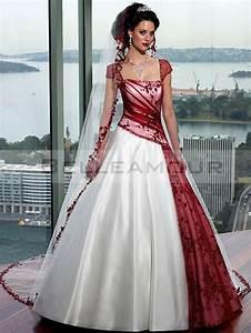 robe de mariee rouge blanc satin tulle appliques longue With robe de mariée rouge avec alliance or blanc
