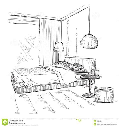 dessin de chambre croquis intérieur moderne de dessin de vecteur de chambre