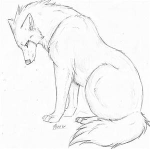 Drawn howling wolf sad - Pencil and in color drawn howling ...