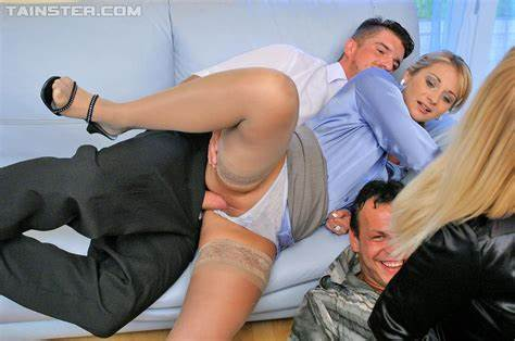 Groupsex With A Pissing Stud On Threesome Clothed Lady