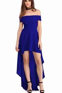 robes de soiree courte devant longue derriere bleu epaules With robe longue épaules dénudées