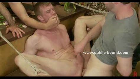 Tied White Shemale Got Jerked And Sucked By Older Dude