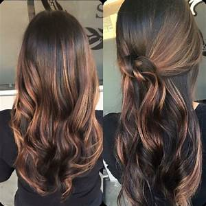 Dark brown and caramel balayage highlights | # ...
